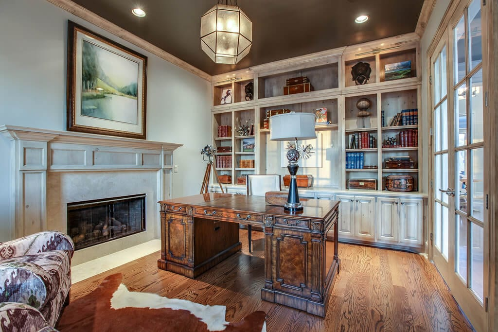 Timeless Study with Vintage Desk and Built Ins